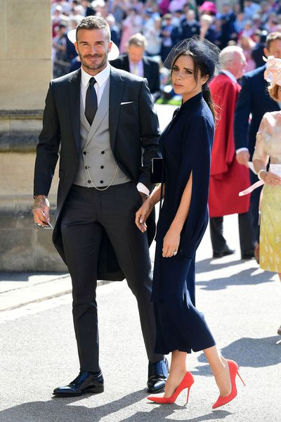 David and Victoria Beckham at the royal wedding of Prince Harry and Meghan Markle, May 2018