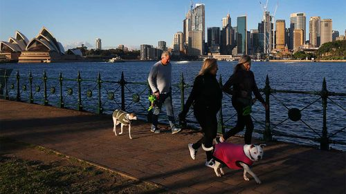 Exercising outdoors is allowed, even encouraged, during lockdown in Sydney.