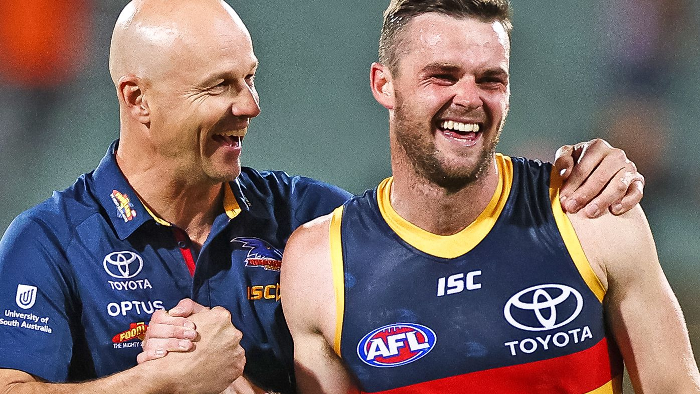 Crows Senior Coach Matthew Nicks with Brad Crouch