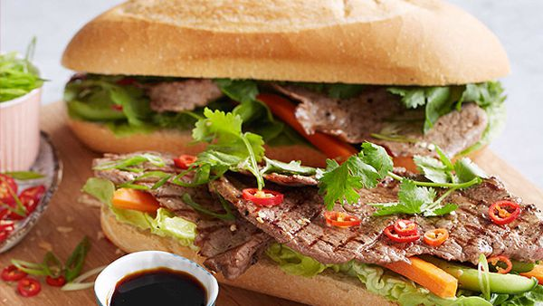 Vietnamese topside rolls with pickled vegetables