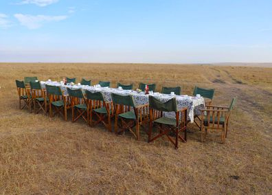 Masai Mara safari breakfast table