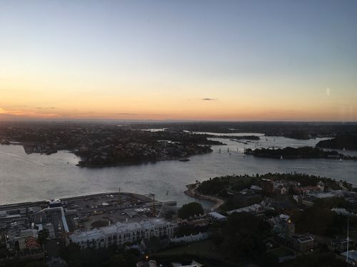 An evening view from Blu Bar on 36 at Shangri-la Sydney. (Picture: Danny Wheeler)