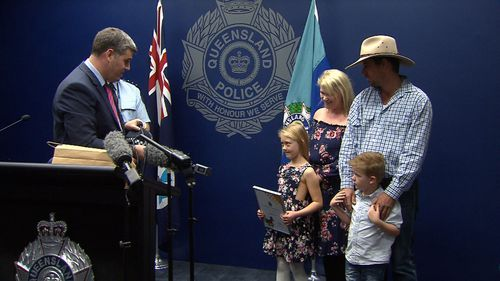 "Police Minister Mark Ryan today said her father, Brett, was the ""luckiest dad in Queensland"" to have a daughter like Addison. Picture: 9NEWS"