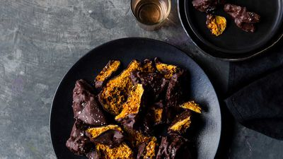 "Recipe: <a href=""http://kitchen.nine.com.au/2017/07/11/21/23/luke-mangans-salted-chocolate-honeycomb"" target=""_top"">Luke Mangan's salted choc-honeycomb</a>"