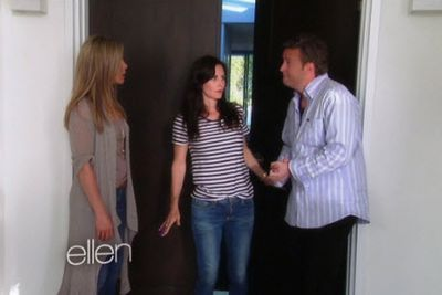 Jennifer Aniston (Rachel), Courteney Cox and Matthew Perry filmed a skit for <i>Ellen</i> in May 2013.