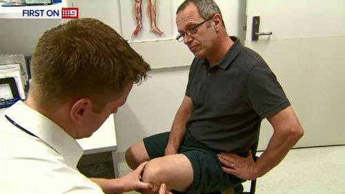 Mr Trapani suffers knee pain. (9NEWS)