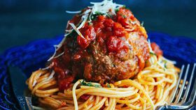 Giant cheesy meatball and spaghetti