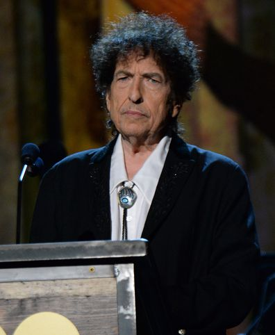 Bob Dylan onstage at the 25th anniversary MusiCares 2015 Person Of The Year Gala honoring Bob Dylan at the Los Angeles Convention Center on February 6, 2015 in Los Angeles, California.