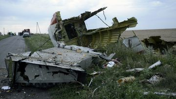 The wreckage of the shot down MH17 flight.