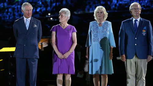 Prince Charles, Commonwealth Games Federation President Louise Martin, Camilla, Duchess of Cornwall, Gold Coast Commonwealth Games Chairman Peter Beattie. (AAP)
