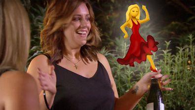 Jess is feeling herself as she arrives with her wine bottle date.