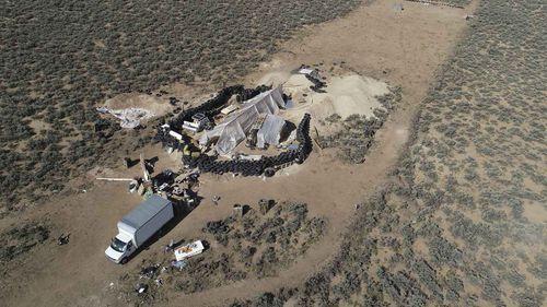 The makeshift compound in Amalia, New Mexico.