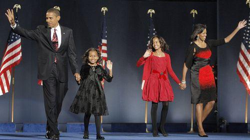 Barack Obama Malia Sasha Michelle Obama 2