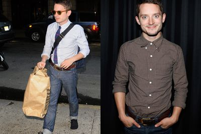 Could Elijah Wood be the hipster all other hipsters aspire to? Checked shirt? Check. Tight jeans rolled up? Check. Old school sunglasses? Check. Hands in pockets? Check. Enviro-friendly paper bag? Check.