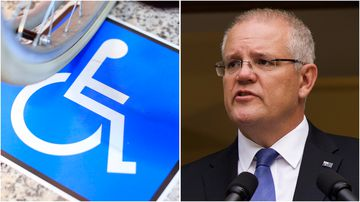 Scott Morrison choked back tears as he announced a royal commission into abuse against disabled Australians today.