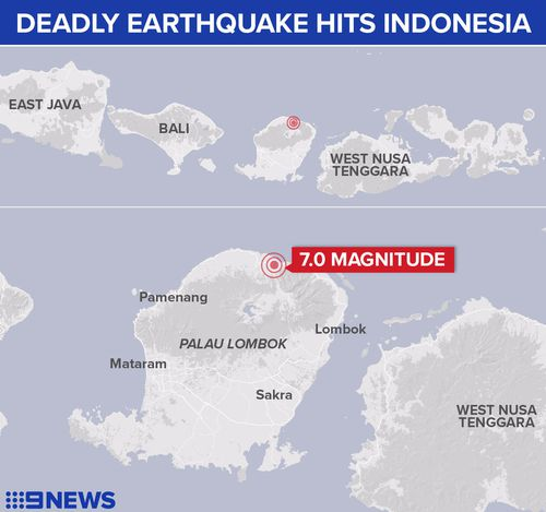 The earthquake hit Lombok and Bali in Indonesia