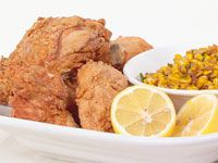Spice fried chicken with corn salsa