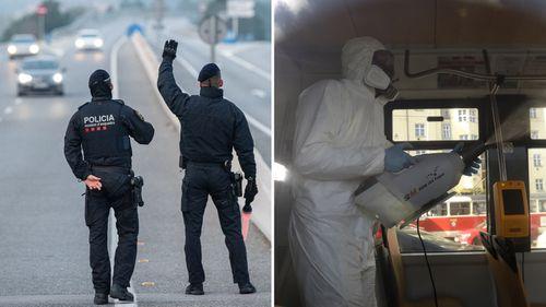Police in Spain, health workers in Czech Republic