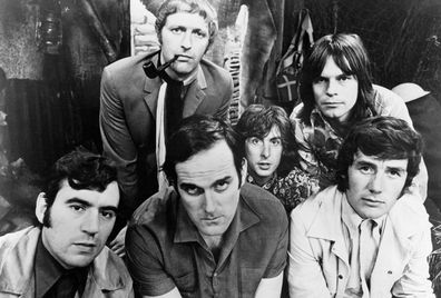 The six members of the Monty Python team, 1969. Left to right: Terry Jones, Graham Chapman (1941 - 1989), John Cleese, Eric Idle, Terry Gilliam and Michael Palin.
