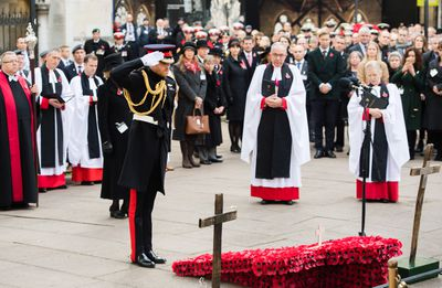 Prince Harry commemorates fallen army men and women at Field Of Remembrance ceremony, November 2018.