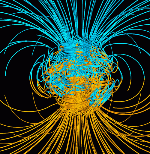 A computer simulation shows the Earth's magnetic field, which is generated by heat transfer in the Earth's core.