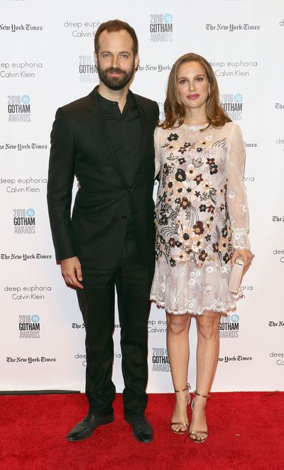 <p>The two of us: Natalie wearing delicate Rodarte, with husband Benjamin Millepied.</p>