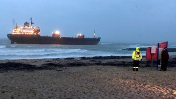 Russia cargo ship Cornwall beach