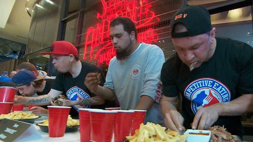 Competitors were lined up side-by-side for the all American themed eat-off. (9NEWS)