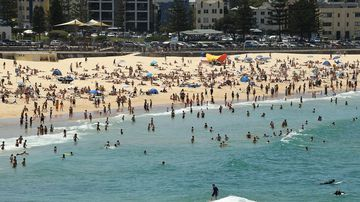 Crowds are expected to flock to big beaches like Sydney's Bondi, seen here in early January.