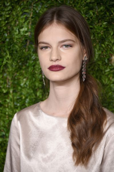 A velvety berry lip on model Farrata, Vogue Fashion Fund Awards.<br /> <br />