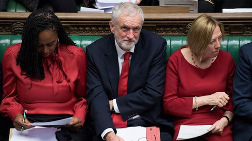 Britain's opposition Labour Party leader Jeremy Corbyn speaks during a debate before a government no-confidence vote in the House of Commons.