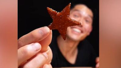 @bayashi.tiktok plays the Squid Game dalgona cookie game