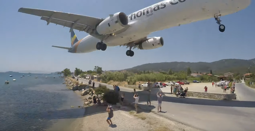 Skiathos Airport is a popular spot for holidaymakers to get unique photos up close to landing planes, but people have been injured by the powerful aircraft blast sending them flying metres through the air.