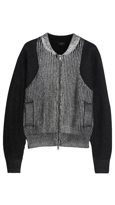 "<a href=""http://www.theoutnet.com/en-AU/product/Joseph/Metallic-ribbed-knit-cotton-bomber-jacket/550017"">Metallic Ribbed-Knit Cotton Bomber Jacket, $211, Joseph</a>"