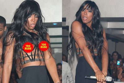 Oh SLIP! Kelly Rowland danced her nips out, exposing her bits to a packed crowd at Club 4Sixty6 mid-performance of song 'Motivation'. <br/>