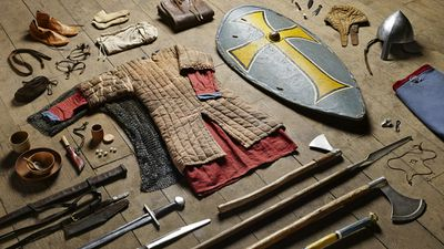 """Photographer <a href=""""http://thomatkinson.com/"""">Thom Atkinson</a> has documented the battle equipment of British soldiers between 1066 and today in his series titled Soldiers' Inventories.<br /><br />In 1066, a Huscarl – a Saxon household warrior – would have worn a mail coat and wielded a battle axe.<br />"""