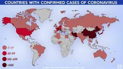 Countries with confirmed coronavirus cases as of March 2.
