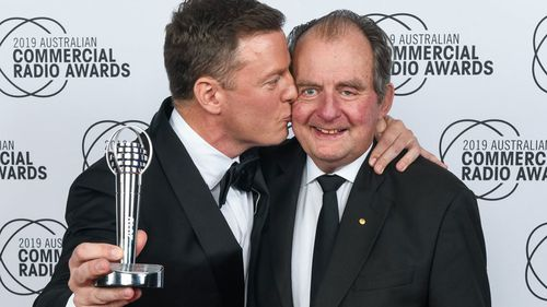 Ben Fordham (left) with his father, John, at the Best Talk Presenter at the Australian Commercial Radio Awards last month where he took out the Best Talk Presenter.