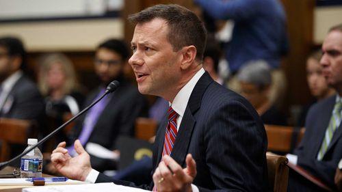 Peter Strzok testifying before Congress. (AAP)