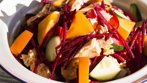 Poh's tuna, persimmon and beetroot salad