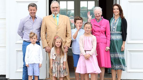 Prince Frederik and Princess Mary with their four children and Queen Margrethe and Prince Henrik. (Getty)