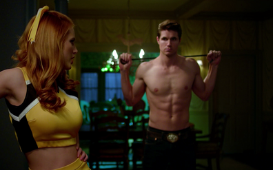 Bella Thorne and Robbie Amell in Netflix original movie The Babysitter
