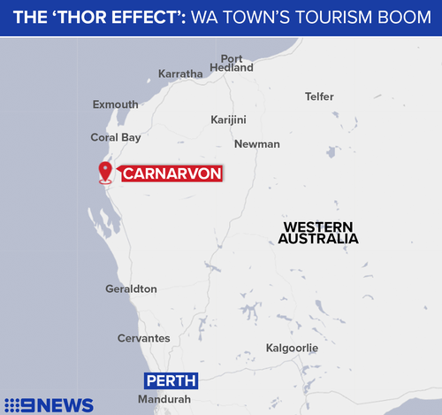 Carnarvon has received a tourism boost thanks to Chris Hemsworth and his mate Mat Damon.