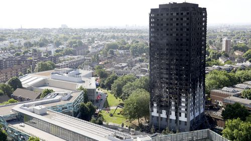 The Grenfell Tower a charred husk one day after fatal fire. (AFP)