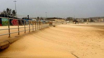 Sand encroaching on Bondi's promenade after an overnight battering. (Instagram - Mark Yeats)