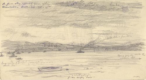 This sketch was made by Herbert Hillier whilst observing the Gallipoli landing from a balloon on the morning of April 25th, 1915. (IWM)