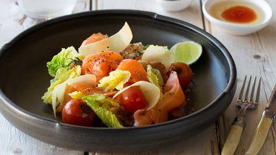 Cold smoked salmon panzanella salad