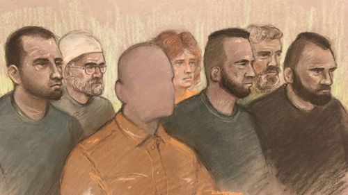 An artist sketch of the accused on trial at Worcester Crown Court in England.
