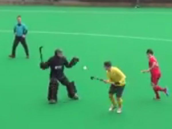Hockey player scores cheeky goal