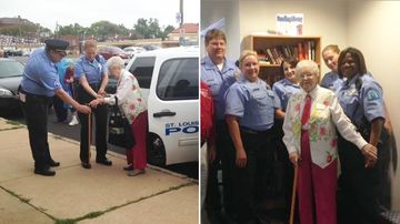 """Edie Simms, 102, has fulfilled her lifelong wish of being """"arrested"""". (St Louis Police Department)"""